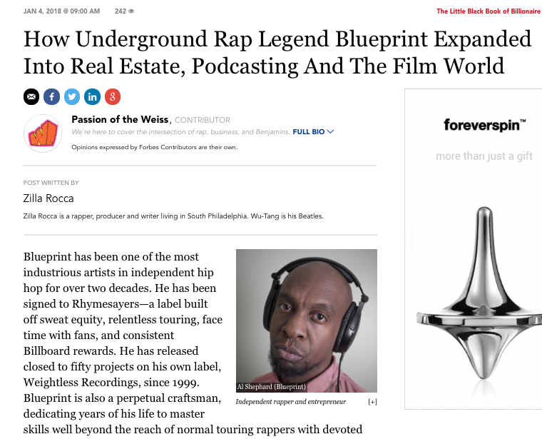 Printmatic the official website of rapperproducer blueprint i have had the had the pleasure of being featured on forbes in an interview about film podcasting real estate and finding your own lane malvernweather Choice Image
